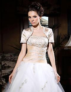 짧은 소매 새틴 아플리케 특별한 날 저녁 재킷 / 결혼식 랩 볼레로 어깨를 으쓱