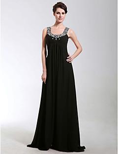 저녁 정장파티/밀리터리 볼 드레스 - 블랙 시스/컬럼 바닥 길이 스쿱 쉬폰 플러스 사이즈