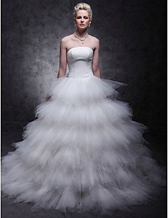 Ball Gown Plus Sizes Wedding Dress - Ivory Sweep/Brush Train Strapless Tulle