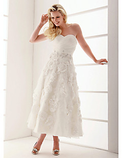 Lanting A-line/Princess Plus Sizes Wedding Dress - Ivory Ankle-length Sweetheart Organza