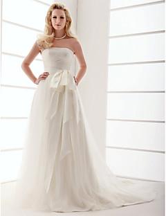 A 라인 / 공주 lanting 플러스은 웨딩 드레스 크기 - 아이보리 청소 / 브러쉬 기차 끈이 얇은 명주 그물을