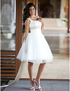 Lan Ting Ball Gown Plus Sizes Wedding Dress - Ivory Knee-length Bateau Satin/Tulle