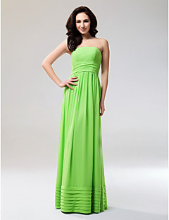 Prom Formal Evening Military Ball Dress - Open Back Sheath / Column Strapless Floor-length Chiffon with Draping Ruffles Ruching