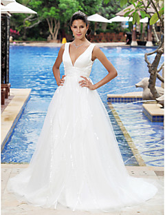 Lanting Empire V-neck Sleeveless Sweep/Brush Train Wedding Dress