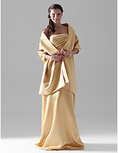 Floor-length Satin Bridesmaid Dress Sheath / Column Strapless Plus Size / Petite with Side Draping