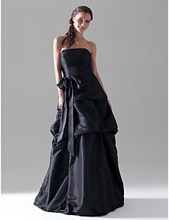 Floor-length Taffeta Bridesmaid Dress - Black Plus Sizes / Petite A-line / Princess Strapless