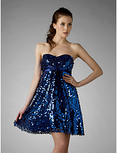 Cocktail Party / Sweet 16 / Holiday Dress - Royal Blue Plus Sizes / Petite A-line / Princess Strapless / Sweetheart Short/Mini Sequined