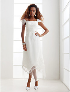Lanting Bride® Sheath / Column Petite / Plus Sizes Wedding Dress - Chic & Modern / Glamorous & Dramatic / Reception Asymmetrical