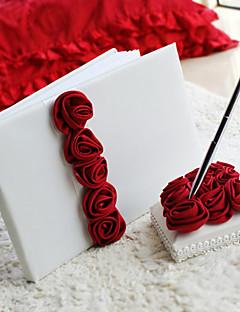 יוקרה אדומה נועזת עלתה מרופד ספר אורחים חתונה וסימן סט עט בספר