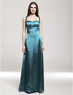 Lanting Empire Spaghetti Straps Floor-length Stretch Satin Bridesmaid/ Wedding Party Dress