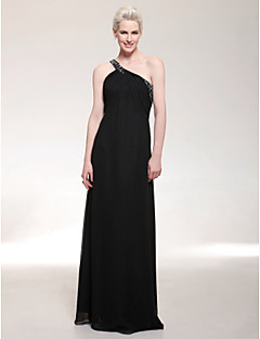 Formal Evening/Military Ball Dress - Black Plus Sizes Sheath/Column One Shoulder Floor-length Chiffon