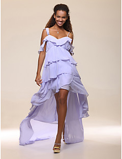 High Low Chiffon A-line Off-the-shoulder Cocktail Dress inspired by Brooklyn Decker