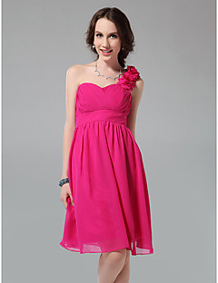Knee-length Chiffon Bridesmaid Dress - Fuchsia Plus Sizes / Petite A-line / Princess One Shoulder / Sweetheart