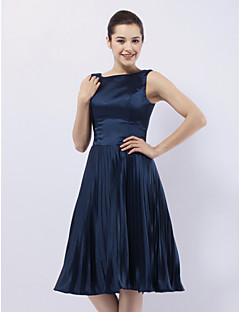 TS Couture® Cocktail Party / Wedding Party Dress - 1950s Plus Size / Petite A-line / Princess Bateau Knee-length Stretch Satin with Pleats