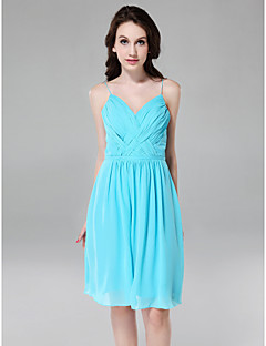 Bridesmaid Dress Knee Length Chiffon Sheath Column Spaghetti Straps V Neck Dress