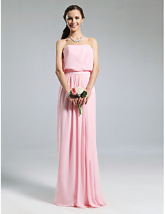 LAN TING BRIDE Floor-length Chiffon Bridesmaid Dress - Sheath / Column Strapless Plus Size / Petite with Pleats