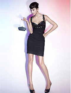 Cocktail Party / Holiday Dress - Black Plus Sizes / Petite Sheath/Column Straps / Sweetheart Short/Mini Chiffon / Stretch Satin