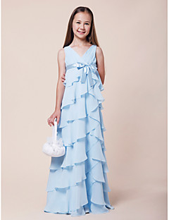 Lanting Bride® Floor-length Chiffon / Stretch Satin Junior Bridesmaid Dress A-line / Princess V-neck Empire withBow(s) / Ruffles / Sash /