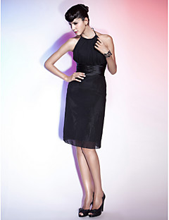 Homecoming Cocktail Party/Holiday Dress - Black Plus Sizes Sheath/Column Halter/Jewel Knee-length Chiffon/Stretch Satin