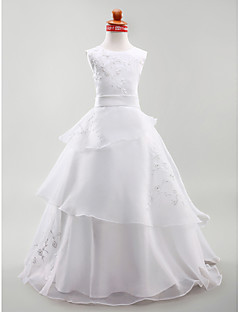 Lanting Bride A-line / Ball Gown / Princess Floor-length Flower Girl Dress - Organza / Satin Sleeveless Jewel withEmbroidery / Sash /