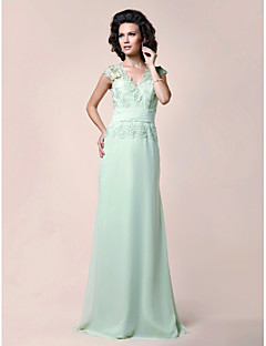 A-line Plus Sizes Mother of the Bride Dress - Sage Floor-length Sleeveless Chiffon/Lace