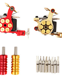 2 Cast Iron Revolver Design Tattoo Gun Kit with LCD Power