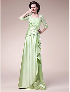 Lanting A-line Plus Sizes / Petite Mother of the Bride Dress - Sage Floor-length Half Sleeve Stretch Satin / Lace