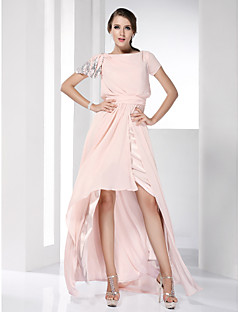 Prom / Formal Evening Dress - Pearl Pink Plus Sizes / Petite Sheath/Column Bateau Floor-length / Asymmetrical Chiffon