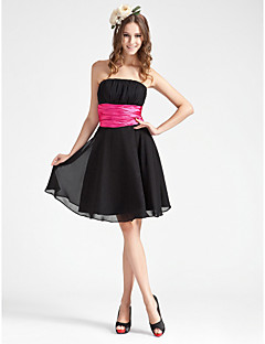 Homecoming Bridesmaid Dress Knee Length Chiffon And Stretch Satin A Line Strapless Dress