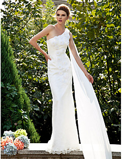LAN TING BRIDE Trumpet / Mermaid Wedding Dress - Classic & Timeless Lacy Look Sweep / Brush Train One Shoulder Lace with Flower