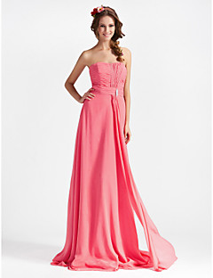Lanting Bride® Floor-length Chiffon Bridesmaid Dress - Sheath / Column StraplessApple / Hourglass / Inverted Triangle / Pear / Rectangle