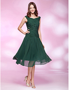 TS Couture Cocktail Party Holiday Wedding Party Dress - 1920s A-line Princess V-neck Knee-length Chiffon with Beading Criss Cross Pleats