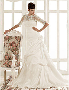 A-line / Princess Misses / Petite / Plus Sizes Wedding Dress-Ivory Chapel Train Jewel Lace / Taffeta