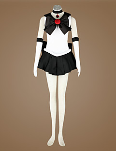 Inspired by Sailor Moon Sailor Pluto Anime Cosplay Costumes Cosplay Suits Patchwork White / Black Sleeveless Dress / Cravat / Gloves / Bow