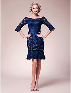 Lanting Sheath/Column Off-the-shoulder Knee-length Lace Stretch Satin Mother of the Bride Dress