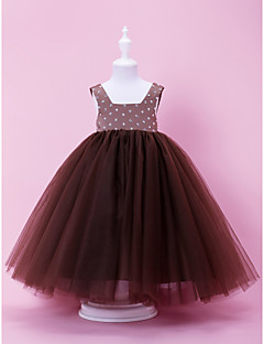 A-line / Ball Gown Floor-length Flower Girl Dress - Satin / Tulle Sleeveless Square with Beading / Bow(s) / Crystal Detailing / Draping