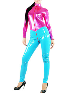 Shiny Zentai Suits PVC Patchwork Cyan Female Leotard/Onesie
