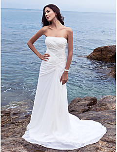 Lanting Sheath/Column Plus Sizes Wedding Dress - Ivory Chapel Train Strapless Chiffon