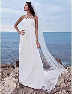 Lanting Bride A-line Petite / Plus Sizes Wedding Dress-Watteau Train Sweetheart Chiffon