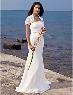 Lanting Bride Trumpet/Mermaid Petite / Plus Sizes Wedding Dress-Sweep/Brush Train Strapless Chiffon