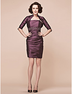 Sheath/Column Plus Sizes Mother of the Bride Dress - Grape Short/Mini Half Sleeve Taffeta