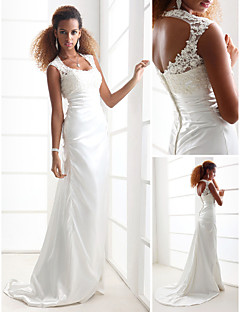 Lan Ting Sheath/Column Plus Sizes Wedding Dress - Ivory Sweep/Brush Train Scoop Charmeuse