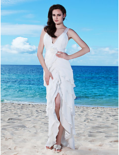 Lanting Sheath/Column V-neck Asymmetrical Chiffon Wedding Dress