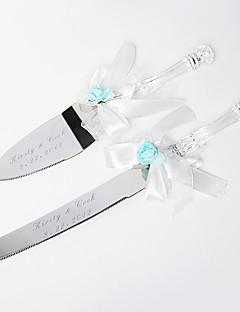 serveren sets bruidstaart mes gepersonaliseerde lichtblauw roos& wit satijn taart serving