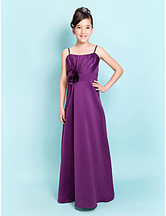 Lanting Bride® Floor-length Satin Junior Bridesmaid Dress A-line / Sheath / Column Spaghetti Straps Natural withFlower(s) / Sash / Ribbon