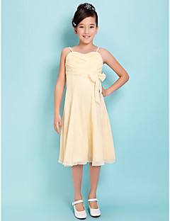 Knee-length Chiffon Junior Bridesmaid Dress - Daffodil Sheath/Column / A-line Spaghetti Straps / Sweetheart