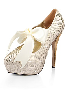 Satin Stiletto Heel Closed Toe Pumps Party / Evening Shoes With Rhinestone