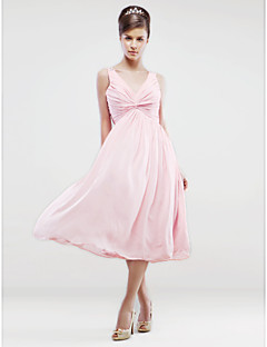 Tea-length Chiffon Bridesmaid Dress A-line V-neck Plus Size / Petite with Beading / Criss Cross / Pleats