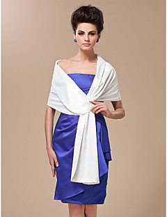 Wedding  Wraps / Shawls / Women's Wrap Shawls Satin / Silk White Wedding / Party/Evening / Casual Shawl Collar Tiered Yes