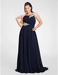 저녁 정장파티/프롬/밀리터리 볼 드레스 - 다크 네이비 시스/컬럼 바닥 길이 원 숄더 쉬폰 플러스 사이즈